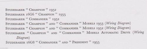 STUDEBAKER Champion Commander 1952-5 data+wiring diagrams 7pp pub 1956 FREE POST