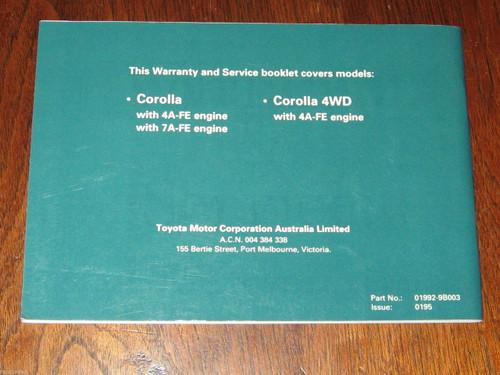 Toyota COROLLA 4WD, 4A-FE+7A-FE engine, 1995 Service Manual Australia, FREE POST