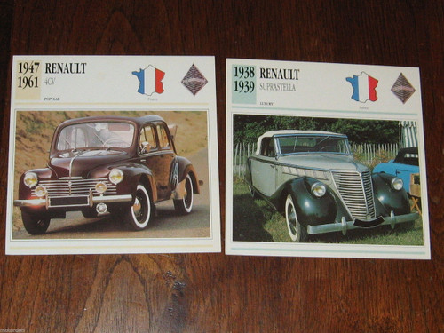 1938-1961 RENAULT Suprastella & 4CV, TWO color photo+specs. CARDS, FREE POST