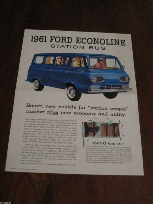 1961 FORD ECONOLINE STATION BUS 2 page color sales sheet like VW Combi FREE POST