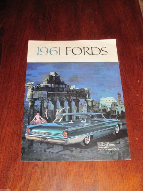 1961 FORDS Fairlane 500 Galaxy Station Wagon 8 page color sales folder FREE POST