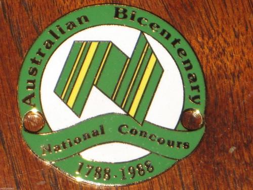"1988 AUSTRALIA NATIONAL CONCOURS Bicentenary ENTRANT 2"" CAR BADGE, FREE POST"