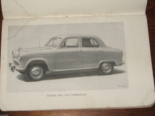 AUSTIN A40 / A50 Models 'CAMBRIDGE' illustrated 79 page Handbook 1954  FREE POST