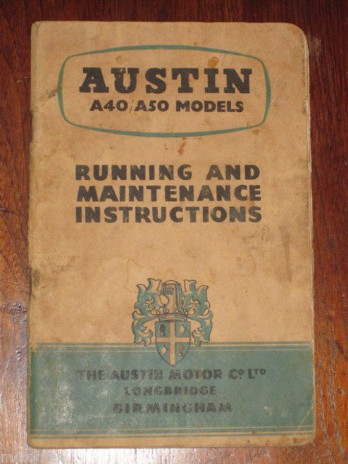 AUSTIN A40 / A50 Models 'CAMBRIDGE' illustrated 79 page Handbook 1955  FREE POST