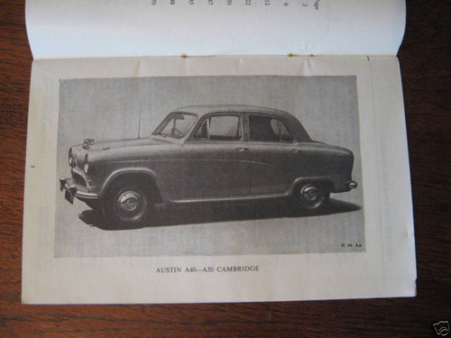 AUSTIN A40 A50 CAMBRIDGE DRIVER HANDBOOK 72 pages good condition 1956 FREE POST