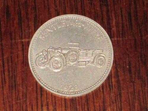 BENTLEY 4 1/2 LITRE 1928 SHELL oil/petrol METAL MEDALLION token? FREE POST