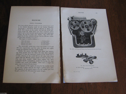 BIANCHI 4 CYLINDER 6 pages period notes, illustrated FREE POST