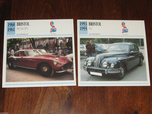 BRISTOL 1953-55 403 & 406 Zagato 2 color photos+specifications CARDS, FREE POST!