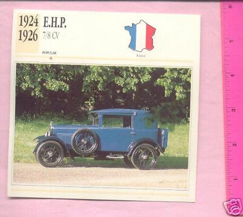 EHP 1924-1926 E.H.P. 7/8CV, color photo+specications collector CARD, FREE POST