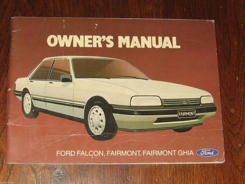 FORD FALCON/FAIRMONT/GHIA Australian 1986 OWNER MANUAL HANDBOOK 76 pg, FREE POST