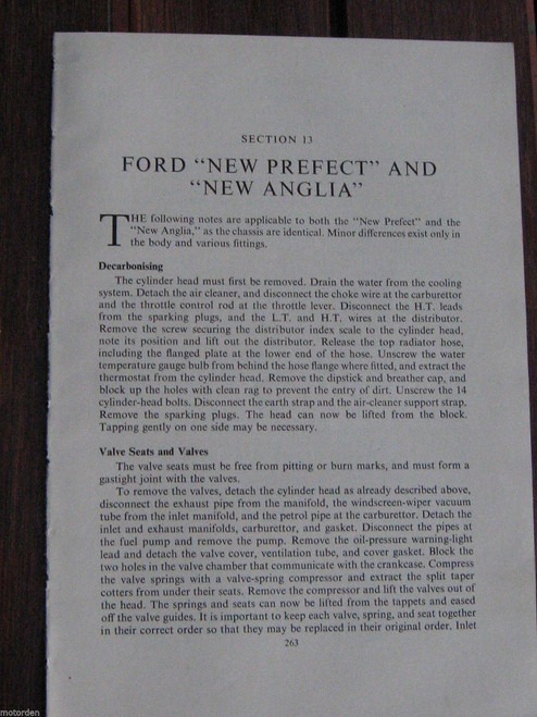FORD New PREFECT & New ANGLIA period 4pp servicing instructions 1950's FREE POST