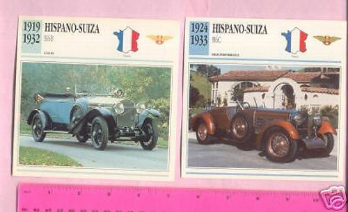HISPANO SUIZA H6B & H6C 1919-1932, 2  color photo+specification CARDS, FREE POST