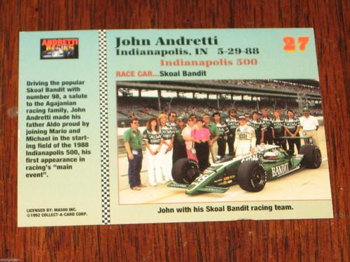 Indianapolis 1988 JOHN ANDRETTI Skoal Bandit race car collector card, FREE POST