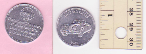 JAGUAR XK120 1949  SHELL oil/petrol METAL MEDALLION token? FREE POST