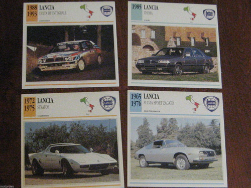 LANCIA FULVIA ZAGATO, STRATOS, THEMA, DELTA: 4 color photo+specs CARDS FREE POST