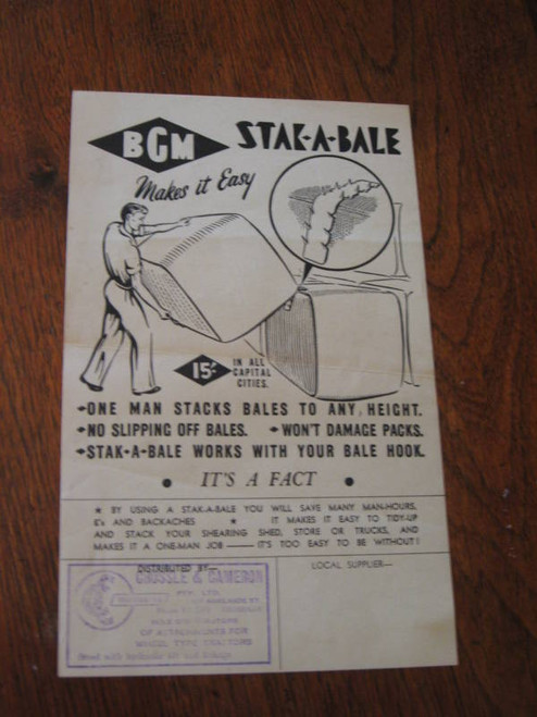 ORIGINAL OLD AUSTRALIA FLYER HAY BALE STACKER FREE POST