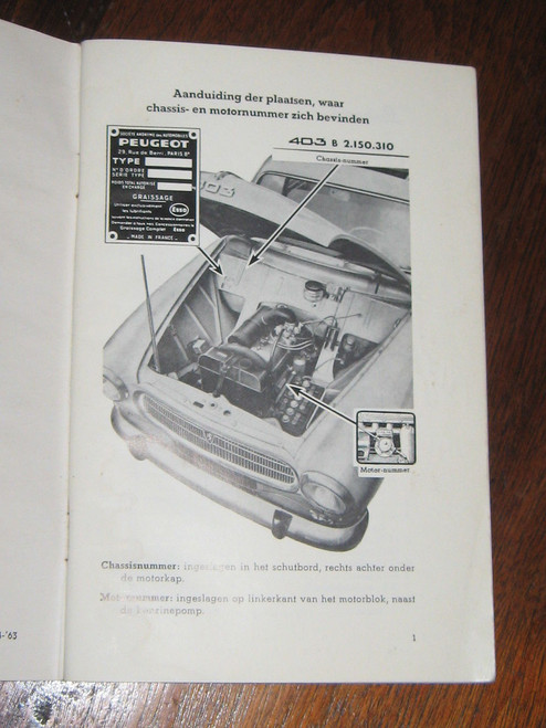 PEUGEOT 403 INSTRUCTIEBOEKJE 1963 BOOK DUTCH LANGUAGE, FREE POST to anywhere!
