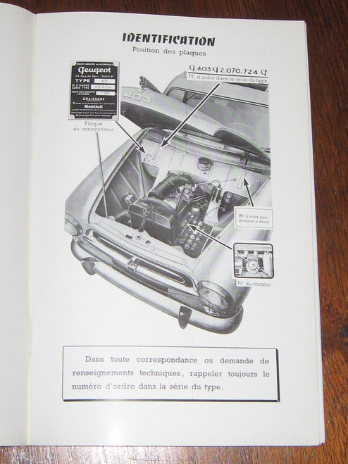 PEUGEOT 403 Notice D'Entretien 1956 BOOK FRENCH LANGUAGE, FREE POST anywhere!