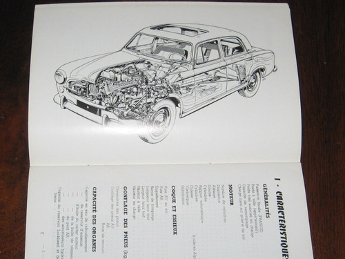 PEUGEOT 403 Notice D'Entretien 1961 BOOK FRENCH LANGUAGE, FREE POST anywhere!
