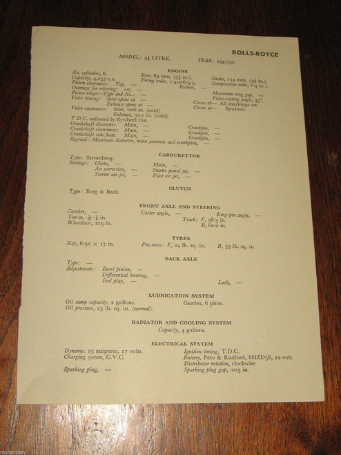 ROLLS-ROYCE 4 1/2 LITRE 1947-1952 data / specifications 1pp pub. 1956, FREE POST