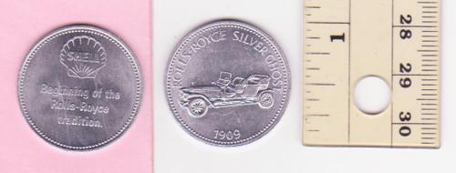 ROLLS-ROYCE SILVER GHOST 1909 SHELL oil/petrol METAL MEDALLION token? FREE POST
