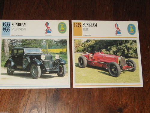 SUNBEAM 1925 TIGER RACE CAR & SPEED 20, TWO of color photo+specs CARDS FREE POST