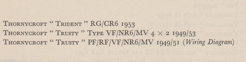 THORNEYCROFT TRIDENT TRUSTY 1949-53 data+wiring diagram 3pp pub. 1956, FREE POST