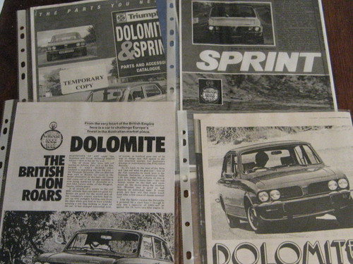 TRIUMPH Dolomite & Sprint Parts/Accessoriies Catalogue & 3 road tests FREE POST