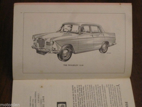 WOLSELEY 16/60 BMC 1966 Driver Handbook 64 pages 1622cc pub ENGLAND FREE POST NR