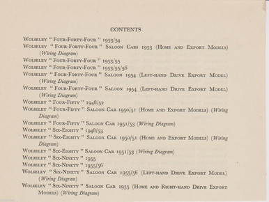 WOLSELEY original data sheets & wiring diagrams 15pp published 1956, on