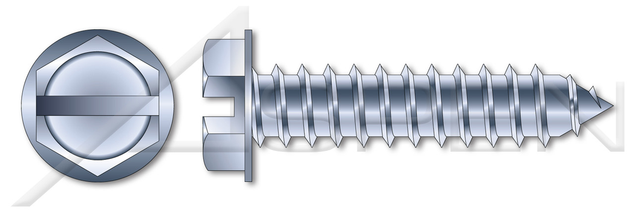 """#12 X 2"""" Self-Tapping Sheet Metal Screws, Type """"AB"""", Hex Indented Washer, Slotted, Steel, Zinc Plated"""