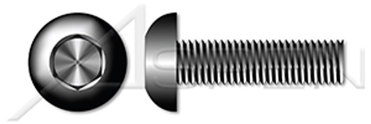 "#10-24 X 3/4"" Button Head Cap Screws, Hex Socket, Coarse Threading, Alloy Steel, Made in U.S.A."