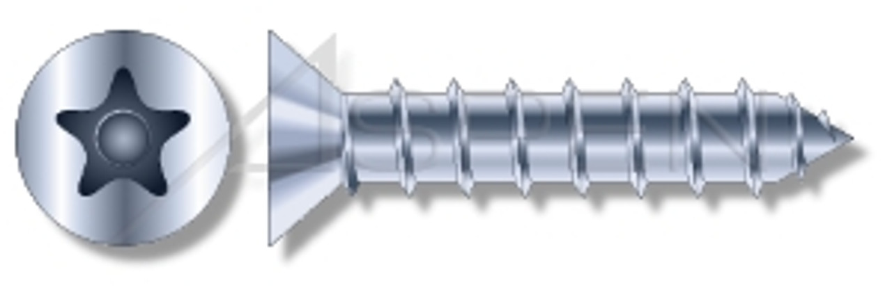 "3/16"" X 4"" Masonry Screws, Flat Countersunk Head Tamper-Resistant 5-Lobe ""Plus"" Pin Drive, Steel, Zinc Plated"
