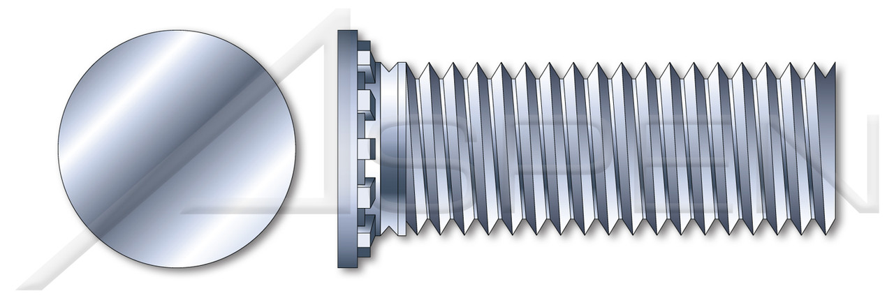"""#6-32 X 1/2"""" Self-Clinching Studs, Flush Head Self-Clinching Studs, Full Thread, Steel, Zinc Plated and Baked"""