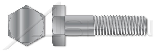 """1""""-8 X 7-1/2"""" Machine Bolts with Hex Head, Partially Threaded, A307 Steel, Hot Dip Galvanized"""