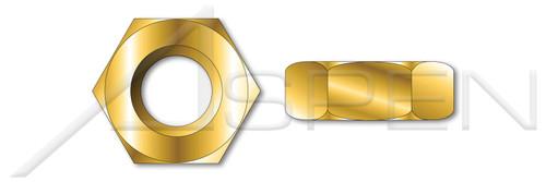 """#10-24 X 5/16"""" Hex Machine Screw Nuts, Small Pattern, Brass"""