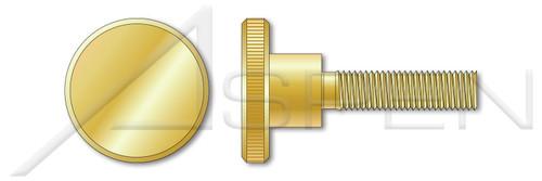M5-0.8 X 8mm Knurled Thumb Screws, High Type Flat Head, Solid Brass, DIN 464