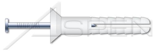 "1/4"" X 2"" Hammer Drive Anchors, Flat Countersunk Head, Nylon Body / Steel Pin"
