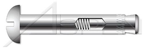 """1/4"""" X 2"""" Sleeve Anchors, Round Head, AISI 304 Stainless Steel (18-8)"""