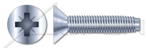M6-1.0 X 12mm Thread-Rolling Screws for Metals, Flat Head with Pozi Drive, Zinc Plated Steel, DIN 7500 Type M