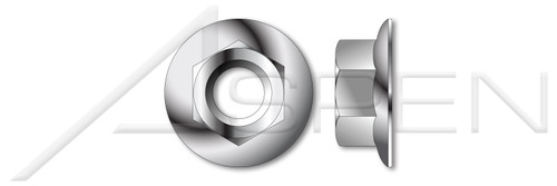 M6-1.0 Hex Flange Nuts, DIN 6923, A2 Stainless Steel