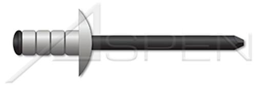 "1/8"", Grip=0.031""-0.187"" Multigrip Rivets, Aluminum Body / Steel Pin, Dome Head, Black Phosphate Coated Pin"