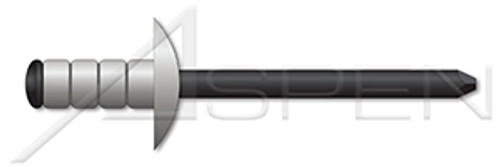 "1/8"", Grip=0.125""-0.312"" Multigrip Rivets, Aluminum Body / Steel Pin, Dome Head, Black Phosphate Coated Pin"