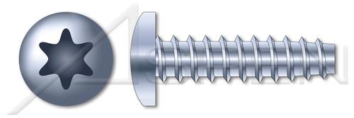 "#10-14 X 1"" Pan Head Trilobe 48-2 Thread Rolling Screws for Plastics with 6Lobe Torx(r) Drive, Steel, Zinc Plated and Waxed"
