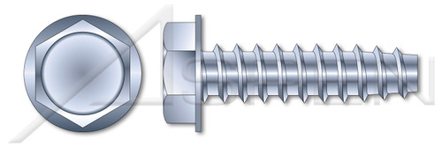 """#10-14 X 1"""" Hex Indented Washer Head Trilobe 48-2 Thread Rolling Screws for Plastics, Steel, Zinc Plated and Waxed"""