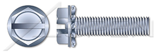 "#10-24 X 1/2"" SEMS Machine Screws with External Tooth Lock Washer, Hex Slotted Washer, Steel, Zinc Plated and Baked"