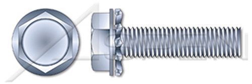 "#10-24 X 1/2"" SEMS Machine Screws with External Tooth Lock Washer, Hex Washer, Steel, Zinc Plated and Baked"