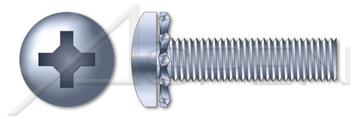 "#10-24 X 1"" SEMS Machine Screws with External Tooth Lock Washer, Pan Head with Phillips Drive, Zinc Plated Steel"