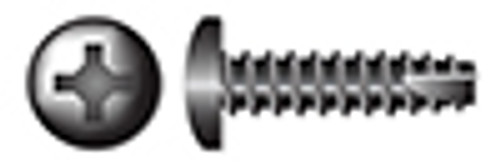 """#10 X 1"""" Type 25 Thread Cutting Screws, Pan Head with Phillips Drive, Steel, Black Zinc and Baked"""