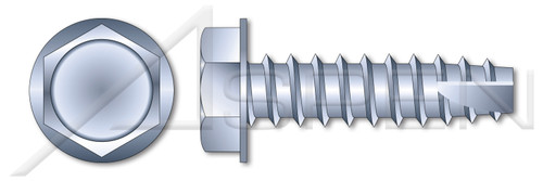 "#10 X 1"" Type 25 Thread Cutting Screws, Indented Hex Washer Head, Zinc Plated Steel"